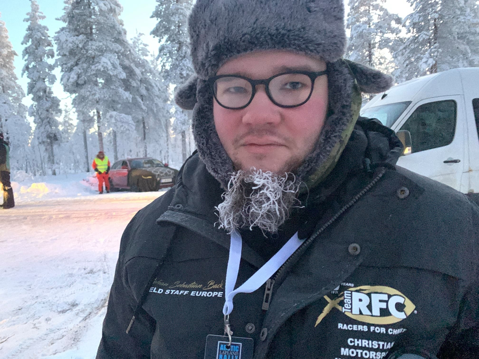 Field staff Johann Sebastian poses for a picture during an snowy event.